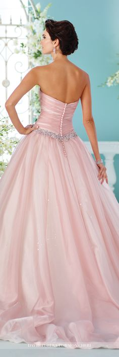 David Tutera for Mon Cheri Fall 2016 Collection - Style No. 216257 Indigo - blush pink strapless orgnaza over sequined tulle and satin ball gown wedding dress