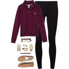 A fashion look from December 2014 featuring Victoria's Secret PINK sweatshirts, James Perse leggings and American Eagle Outfitters loafers. Browse and shop rel…