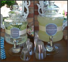 Cucumber water and lemonade. Refreshing for a summer party. I love the labels and font.
