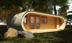 Shapely Green Tiny Retreat, eco-PERCH from UK-based Blue Forest