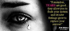 """Remember, TEARS are good. they allow you to flush your system and let new feelings grow to replace your sorrow!"