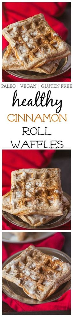 Healthy Cinnamon Roll Waffles- Easy, delicious and JUST like a cinnamon roll- Paleo, Vegan + GF @thebigmansworld - thebigmansworld.com