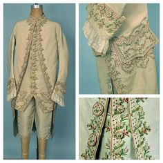 Gentleman's embroidered silk suit c. 1775. 3-piece green faille with embroidered floral garlands.