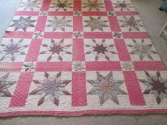 Vintage Antique Handmade 8 Pointed Star Dense Quilting Rich Dark Textiles | eBay $465.00