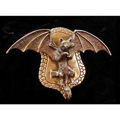Honeck Sculpture-Bat-Winged Cat Door Knocker.