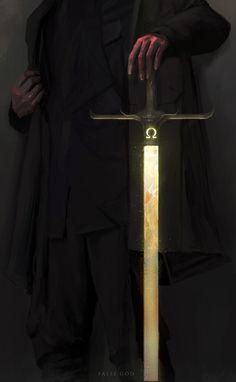 False God - personal series by Sourav. - The Art Showcase Fantasy Weapons, Fantasy Rpg, Dark Fantasy Art, Fantasy World, Character Inspiration, Character Art, Warhammer 40k Art, Sword Design, D&d Dungeons And Dragons