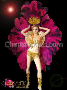Rio Carnival Costumes Peacock   Ostrich feather headdress and matching backpack in fuchsia and purple