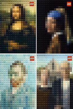 Marco Sodano escogió seis retratos emblemáticos del mundo del arte para la nueva campaña de LEGO. Entre ellos obras como la Mona Lisa y Vincent Van Gogh. Las réplicas fueron realizadas con los afamados bloques de plástico