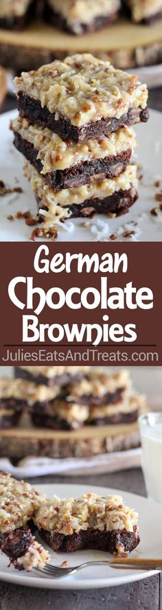 German Chocolate Brownies Recipe ~ Rich chocolaty brownies topped with a gooey homemade coconut pecan frosting. Make the brownies from scratch, or use a boxed brownie mix as the base of this recipe. Youll love this decadent dessert!