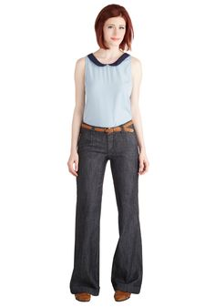 Everyday Lady Pants. For a casual look with a clean silhouette, try these flared blue jeans and their accompanying braided belt. #blue #modcloth