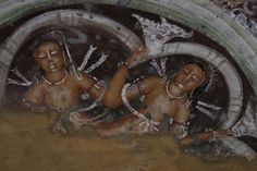 Buddhist rock paintings from the magnificent Ajanta caves.