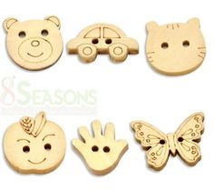 300 Mixed Animal Shape 2 Holes Wood Sewing Buttons Scrapbooking   eBay