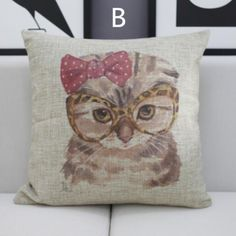 Cartoon cat linen decorative pillow animal square throw pillows for couch