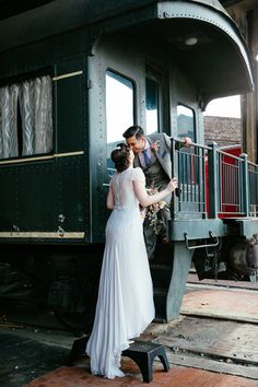railroad museum wedding, photo by Tory Williams http://ruffledblog.com/georgia-railroad-museum-wedding #weddingportrait