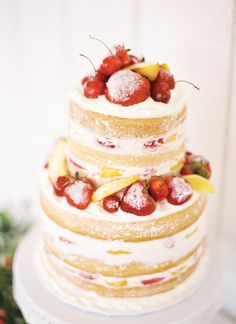 Naked cake with fresh fruit topping.