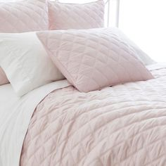 Pine Cone Hill Quilted Silken Solid Slipper Pink Coverlet Ships Free