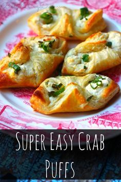 Super Easy Crab Puffs MUST Make Recipe! You will not believe how inexpensive this recipe is — and how easy this recipe is to make. Very Easy Crab Recipe – 30 minute recipe – Super Simple Side Recipe Too! Finger Food Appetizers, Yummy Appetizers, Appetizers For Party, Finger Foods, Appetizer Recipes, Crab Appetizer, Seafood Appetizers, Simple Appetizers, East Appetizers