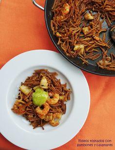 Cocinax2. Las recetas de Laurita.: Fideos tostados con gambones y calamares