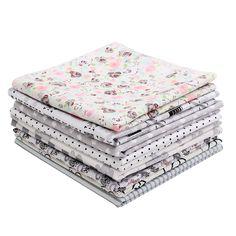 9PCS DIY Grey Handmade Cotton Plain Fabric Craft  Batiks Cloth Assorted Square Quilting Set