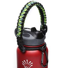 Hydro Flask Handle - Paracord Survival Strap with Security Ring for Wide Mouth Water Bottles Carrier (Green/Black) -- Be sure to check out this awesome product.