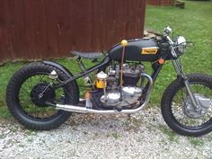 1972 Triumph Bobber w/ yellow accents. #motorcycles