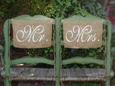 Burlap Wedding Chair signs - Mr and Mrs chair signs -Wedding decorations. $20.00, via Etsy.
