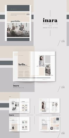 editorial layout Portfolio - Inara Stand out from the competition, with this new portfolio template from the Inara range. A complete document, created by an experienced design Book Portfolio, Mise En Page Portfolio, Fashion Design Portfolio, Graphic Portfolio, Portfolio Booklet, Company Portfolio, Portfolio Examples, Visual Design, Graphisches Design