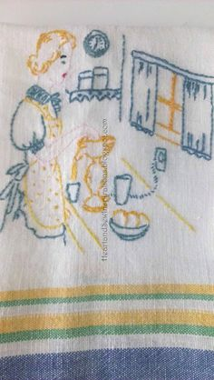 60d073fb2510a Heart and Sew Inspirations  Vintage Tablecloths and Embroidered Dish towels
