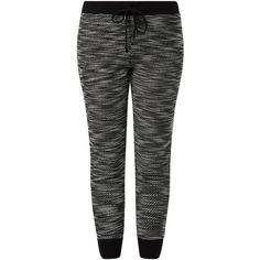 Black Fine Knit Space Dye Joggers ($9.83) ❤ liked on Polyvore featuring activewear, activewear pants, pants, bottoms, joggers, sweats and black