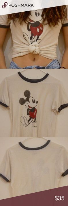Mickey Mouse tee Stretchy and slightly see-through, not worn, fits me as shown and I am a size small. 100% Cotton. Brandy Melville Tops Tees - Short Sleeve