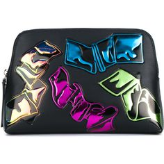 Christopher Kane Iridescent Leather Crash Clutch ($695) ❤ liked on Polyvore featuring bags, handbags, clutches, leather handbags, genuine leather handbags, colorful clutches, leather purse and multicolor handbags