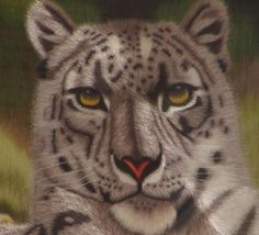 Leopard hand embroidery art painting