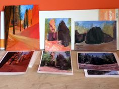 Alkyd oil painting - Navajo Trail - Bryce Canyon, The Split Rock (Northeast MN), and Split Rock River.  In process Sept 2012.