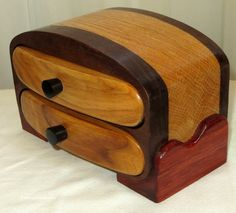 Hand Crafted Hardwood Box - Elegant Two Drawer Unisex Jewelry Box - Professional Wedding Fifth Anniversary Retirement Gift - Item 4550 by EvensensProductions on Etsy