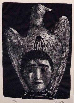 Hunziker,Max : TAUBENBLUT - - Handsignierte Handätzung des SCHWEIZER Surrealisten 1963