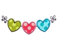 DESCARGAR corazones en un diseño de bordado de cadena - San Valentín diseño de apliques - máquina - instantánea