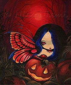 All Hallows Eve {Nico Niemi}. Now make the jack o lantern Jack Skellington  and give the fairy more of an anime look and this may be the tattoo I've been looking for.