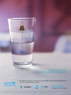 Tap Project by UNICEF. Message in a glass.