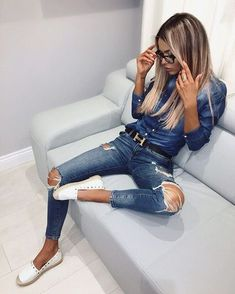 Amazing Casual Outfit With Ripped Jeans For Women 29 Outfits For Teens, Trendy Outfits, Cool Outfits, Fashion Outfits, Womens Fashion, Fashion Beauty, Outfit Jeans, Cute Winter Outfits, Summer Outfits