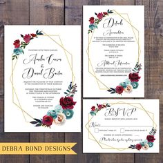 Wedding suite, wedding invitation, geometric invitation, floral, gold, marsala roses, details information card, RSVP card, digital printable