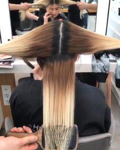 Cabello y belleza Hair Transformation😍😍😍😍😍 Blonde Hair Paint, Silver Blonde Hair, Hair Cutting Techniques, Hair Color Techniques, Hair Color Balayage, Hair Highlights, Hair Color Dark, Hair Transformation, Hair Videos
