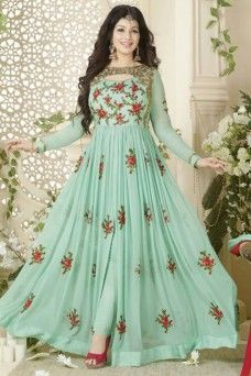 Pista Green Georgette Fabric Embroidered Straight Cut Bollywood Anarkali  #pistagreen #green #bollywood #indian #ethnicwear #gebastore #designer #ayeshatakia #actress #georgette #traditional #anarkali #suit