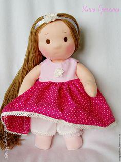 Купить Игровая летняя яркая кукла Розаночка - фуксия, розовый цвет, в горошек, яркий