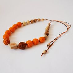 Red Orange Teething Necklace, Natural Wooden Teethers, Wooden Baby Toy, Wooden Bead, Necklace Beadwork, Natural Jewelry, Personalized Toy #BreastfeedingWomen
