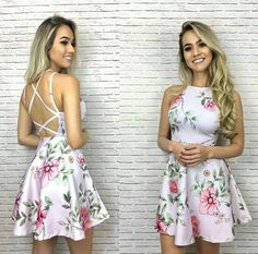 Dress Us Vestido rodado estampado tiras costas ref. 203-2190