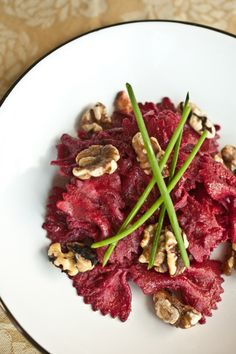 Pasta with Beets, Walnuts and Goat Cheese