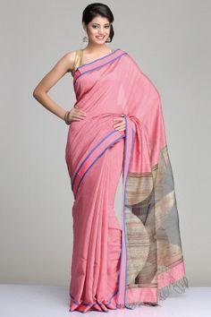 Pink Matka Silk Saree With Blue & Pink Striped Border And Abstract Beige Gheecha Jamdani Motif On The Black Raw Silk Pallu
