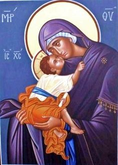 Icon Blue Theotokos Tender Mercy Eleusa