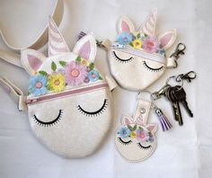 #CuteUnicornEmbroideryDesign #Unicornwithfringedflowers #unicorn  SET, #unicornparty  Flower Side Bag, Key Fob, Coin Purse, 3D Fringed Flowers, 5x7 & 4x4 Hoop, Lisey Designs, Embroidery Pattern #purses3d
