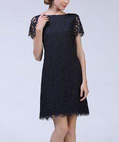 Look at this #zulilyfind! Black Lace Overlay Dress #zulilyfinds